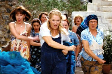 MAMMA MIA!, front, from left: Christine Baranski, Meryl Streep, Julie Walters, 2008. ©Universal/cou